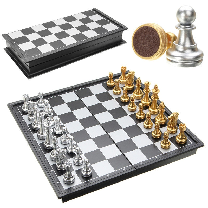 Hot Sale Chess Game Silver Gold Pieces Folding Magnetic